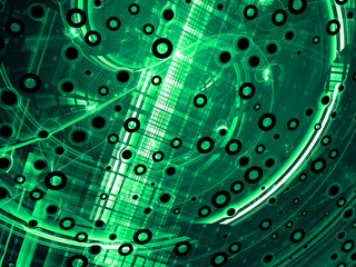 Abstract green tech-style image on a black background