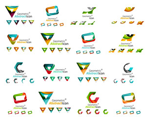 Set of various geometric icons -  rectangles triangles squares
