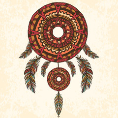Dreamcatcher, feathers. Hand drawn vector illustration.