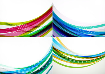 Set of abstract backgrounds. Elegant colorful decorated lines