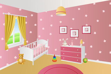 Modern interior baby room pink toys white bed window illustration vector