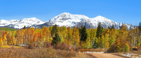Panoramic view of autumn landscape in Colorado