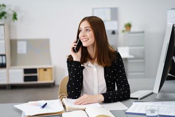 kompetente frau am telefon im büro