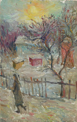 Beautiful Original Oil Painting Landscape On Canvas. Winter woman walking on the street near the house