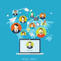 Flat social media and network concept. Business background