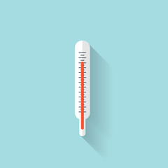 Medical thermometer flat icon.  Health care.