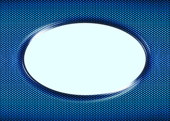 Oval frame for picture or message with blue and black halftone e