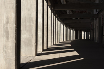 Stadium concourse in shadows