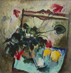 Oil painting. Still life with flowers and lemons on the chair