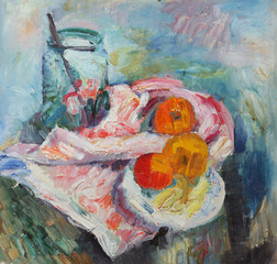 Oil painting. Still life with a plate with apples on fabric