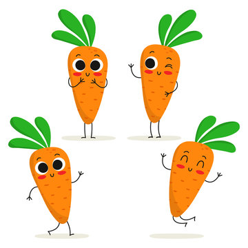 Carrot. Cute vegetable character set isolated on white