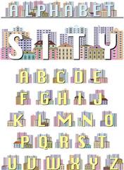 Буквы латинского алфавита, декорированные рисунком городского пейзажа