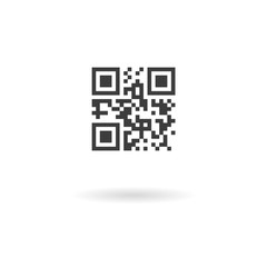 Dark grey icon for qrcode with template meaning on white backgro