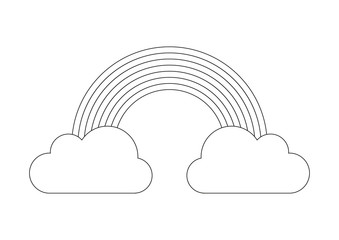 Coloring book - rainbow from cloud to cloud