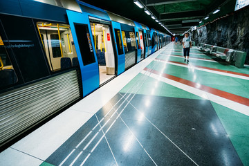 Modern Stockholm Metro Train Station in Blue colors and undergro