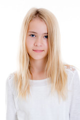 nice blond girl in front of white background