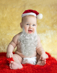 Cute Red hood happy baby lies - stock Image