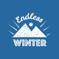 Snowboarding typography icon, logotype and badge