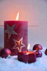 Grußkarte - Adventskerze - Stern - Weihnachtsdekoration