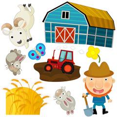 Cartoon farm set - illustration for the children