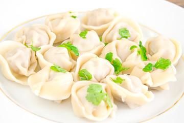 Tasty Homemade dumplings, Russian Pelmeni.