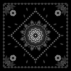 Black and white bandana print  with abstract  flower and leaf ornament.  Design for silk neck scarf, kerchief, hanky.  Kerchief square pattern design.