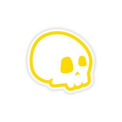 icon sticker realistic design on paper skull