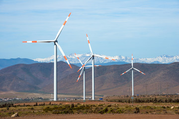 Wind farm in the mining regions of Atacama, Chile