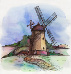 the watercolor hand drawn windmill in Holland