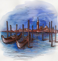the Italy canal hand drawn watercolor