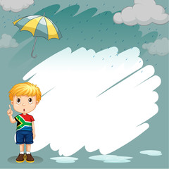 Border design with boy in the rain