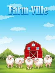 Farm ville with sheeps and barn