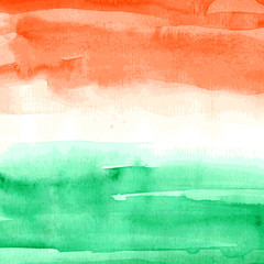 Indian Flag. Watercolor texture. Vector