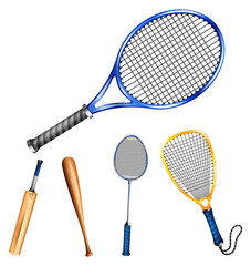 Different sport rackets and bats