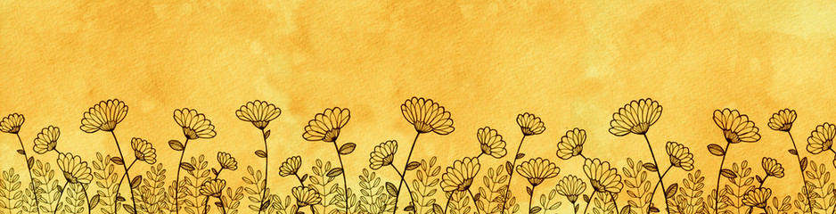 Hand Drawn Daisy Border Yellow Watercolor Parchment Paper Background