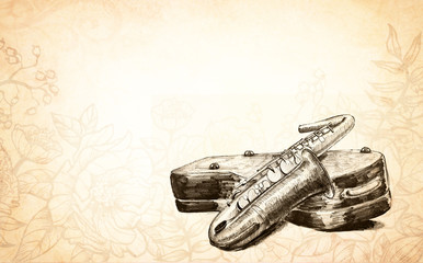 hand drawn saxophone illustration, musical instrument with case, blues jazz music, classical and band concerts image on faded vintage brown flower doodle background, old instrument with copyspace