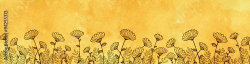 Hand drawn daisy border yellow watercolor parchment paper hand drawn daisy border yellow watercolor parchment paper background with row of cute flowers growing mightylinksfo