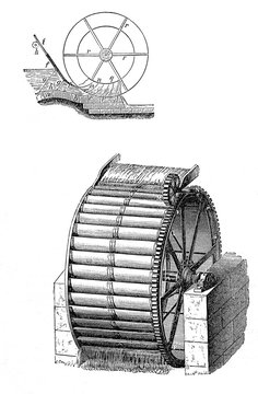 Energy from water, vintage water mill wheel, vintage black and white engraving