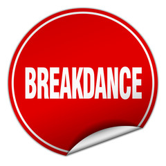 breakdance round red sticker isolated on white