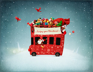 Festive illustration or poster  or greeting card with red bus and monkey gifts