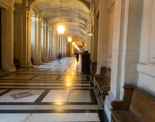 Corridor of Paris courthouse, France