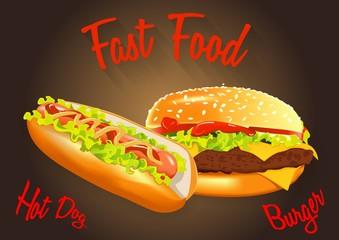 Fast food vector illustration. Burger and hot dog