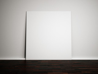 Blank white paper on the white wall and dark wooden floor. 3d mock up for your content.