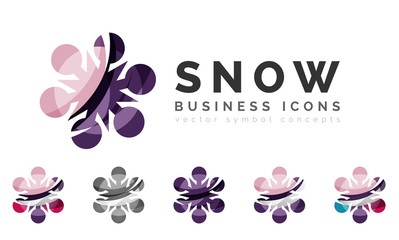 Set of abstract colorful snowflake logo icons, winter concepts
