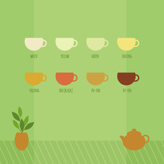 Vector illustration with cups of chinese tea