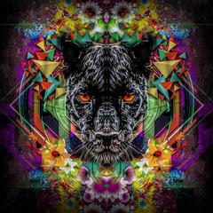 Красочная иллюстрация Пантеры с красными глазами на графическом геометрическом фоне с цветками