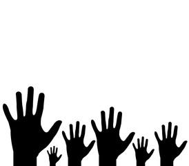 mani nere illustrate verso l'alto su sfondo bianco