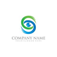 initial S eye lens focus logo icon
