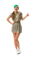 Woman In Gold Mini Dress Showing Thumb Up