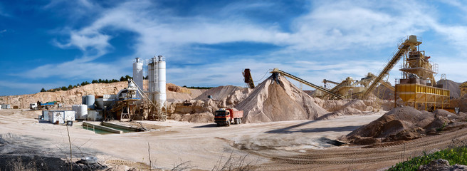 Panoramic photograph of a sand pit